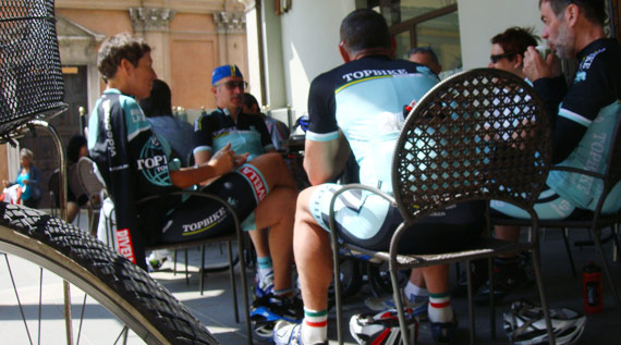 Coffee, Hot Chocolate or Grappa - Topbike Rider's enjoy a break and a ride refreshment