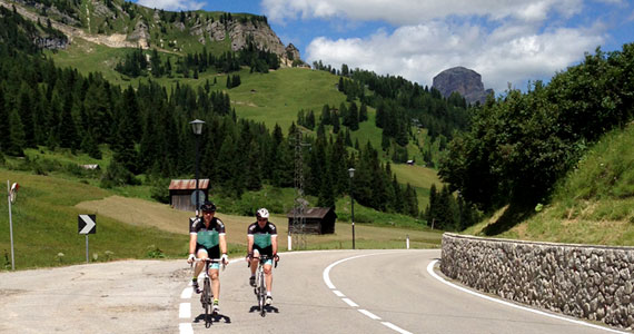 Topbike riders out on a ride along roads used by local and pro cyclists - Classic Italian Climbs