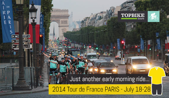 Just another early morning ride... Paris in the morning. TDF 2014 with Topbike Tours
