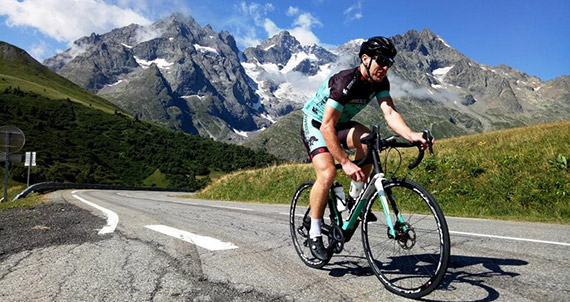 Paul Myers, of the 'Magnificent 7' climbing Col du Lauteret this morning, en route to Briancon & Izouard.
