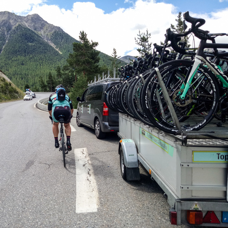 Topbike Tours - Support vehicle and Bike Trailer - Fully supported European cycling tours