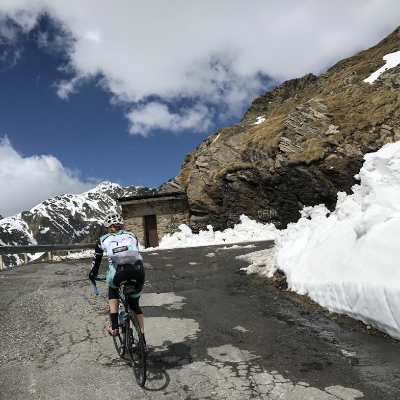 Annabelle Drew - Topbike Tour Leader - Climbing in the Italian Dolomites