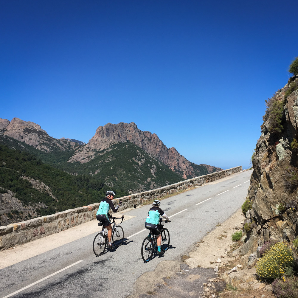 Stunning scenery during the Tour of Corsica - Hai E-Bike (R) making the hills look easy