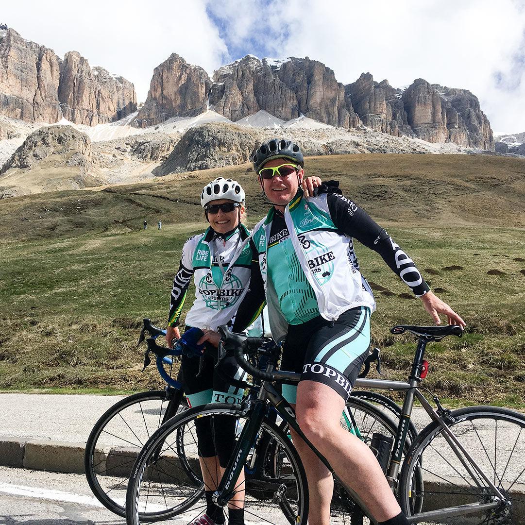Annabelle Drew (L) & Jamie Drew (R) - Topbike Tour Leaders, Dolomites Italy