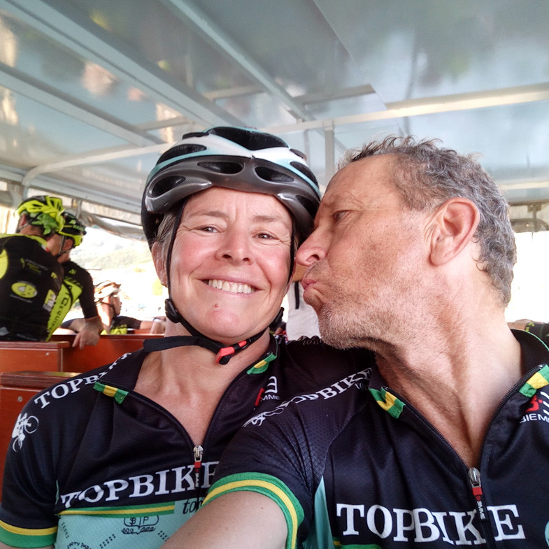 Emma Colson (L) and David Olle (R) - We Love What We Do -Topbike Tours - a family run Australian Tour Company