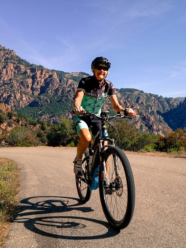 Riding an Hai Electric bike during the Tour of Corsica with Topbike Tours