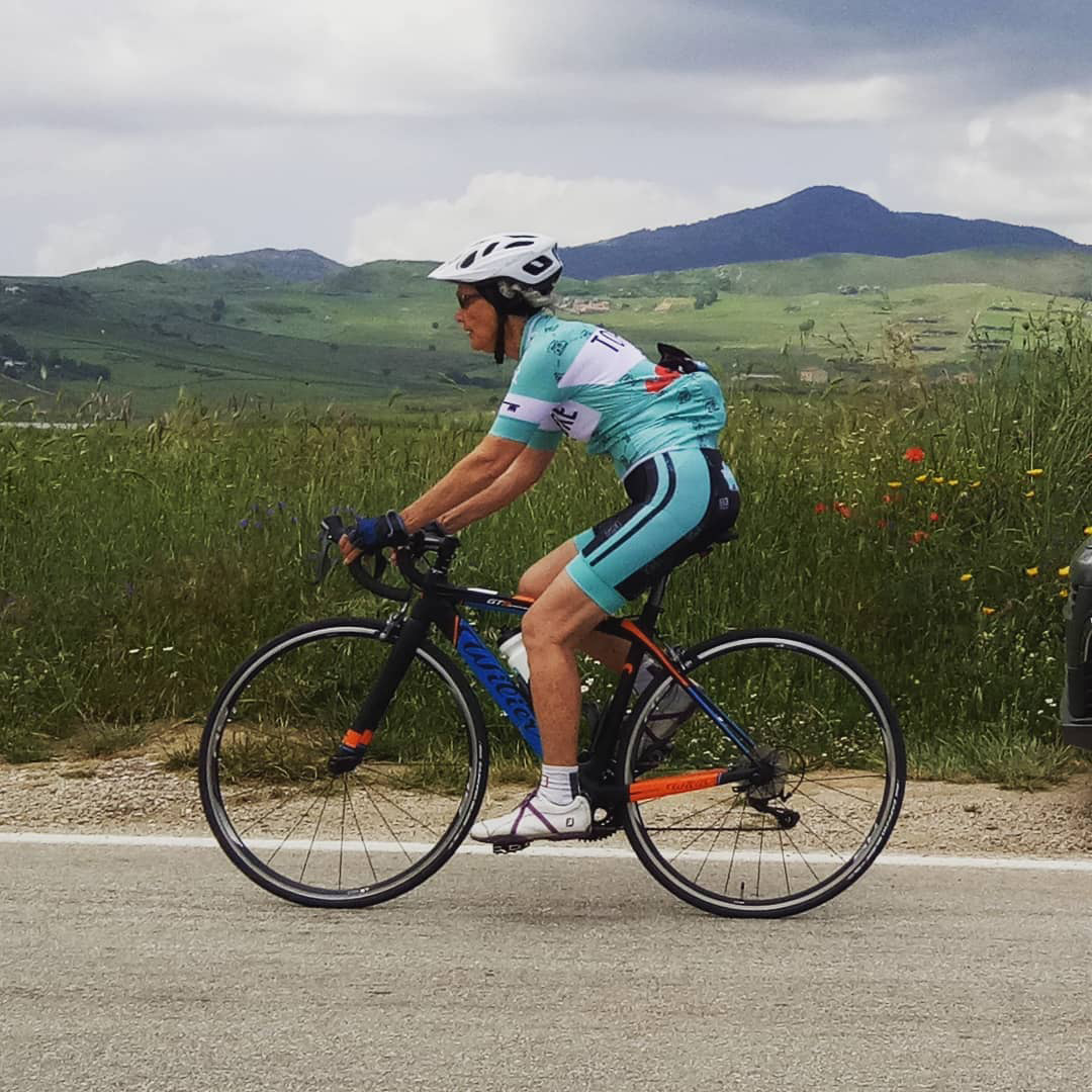Wendy on one of our Wilier Bikes - Tour of Sicily - Topbike 21