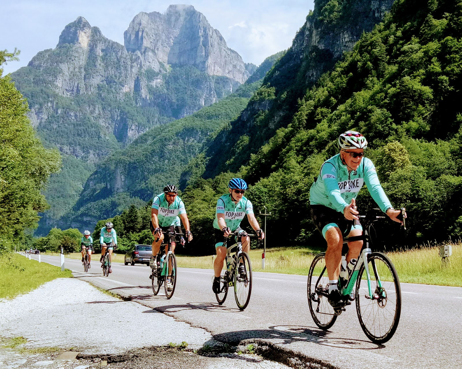 Cycling in the Dolomites - towards the Pass of San Boldo, Italy