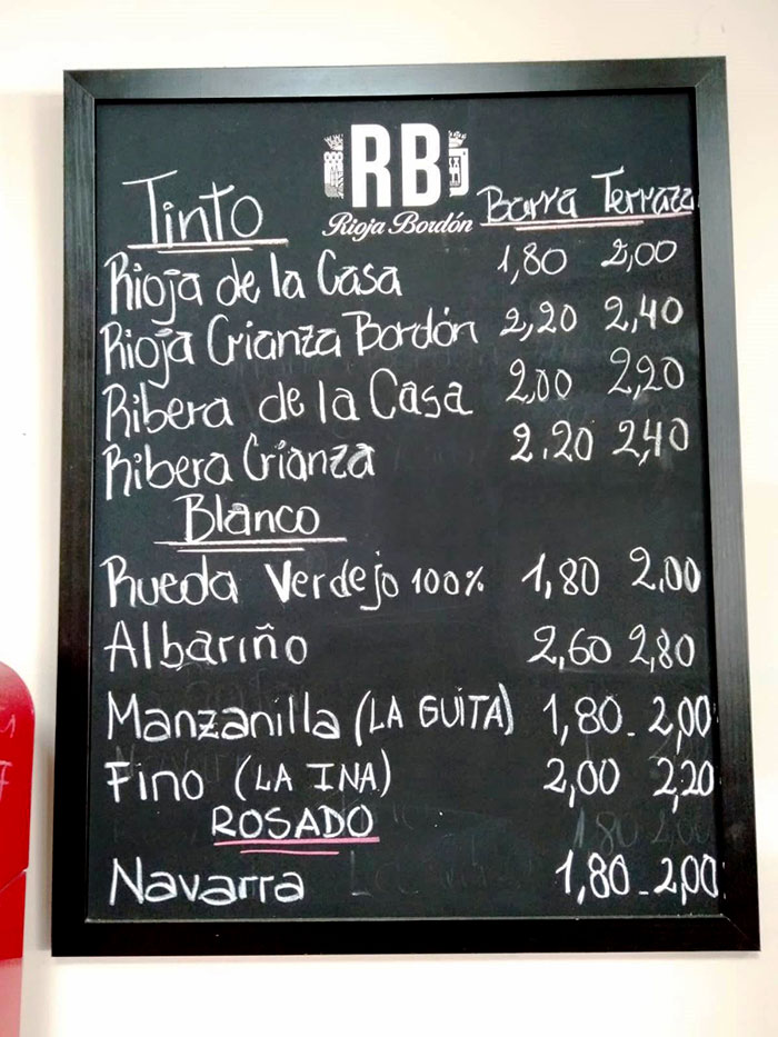 The 'wine by the glass' list, in Majadahonda, Madrid, last week